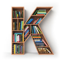 Letter K. Alphabet in the form of shelves with books isolated on white.