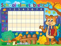School timetable with cat - picture illustration.