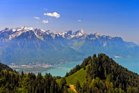 View from the pass Col de Jaman across Lac Leman on the French Alps, Vaud, Switzerland