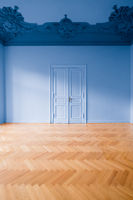 blue  room in empty apartment - home renovation concept