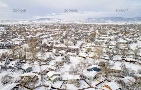 residential neighborhood in winter scenery - aerial view