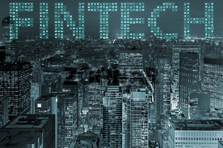 The smart city concept with fintech financial technology concept