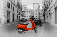Small red motorbike