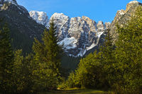First snow in the Dolomites, South Tyrol, Alto Adige, Italy