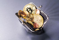 Purse with Bitcoin and other coins