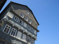 Goslar - Half-timbered house at the market church, Germany