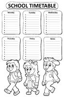 Black and white school timetable theme 5 - picture illustration.