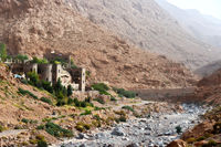Landscape view of High Atlas Mountains near Todgha Gorge or Gorges du Toudra in Morocco