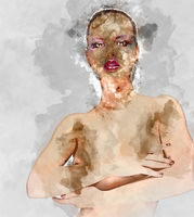 Digital watercolor painting of a naked woman