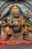 Hindu deity Kala Bhairav, Hanuman Dhoka Durbar Square, Kathmandu, Nepal