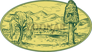 Willow And Sequoia Tree Lake Mountains Oval Drawing