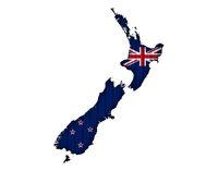 Karte und Flagge von Neuseeland auf Wellblech - Map and flag of New Zealand on corrugated iron