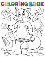 Coloring book cute fox theme 1 - picture illustration.