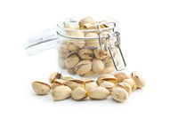Pistachio nuts in jar.