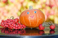 Pumpkin with eyes and Rowan