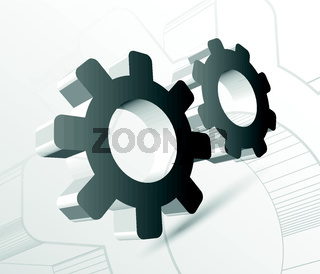 Gear with drawing vector illustration