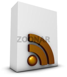 rss-symbol und weiße kiste - 3d rendering
