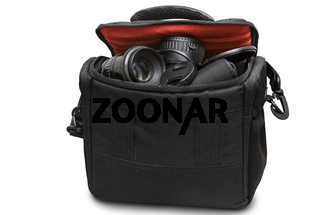 Bag for camera and accessories on a white background.