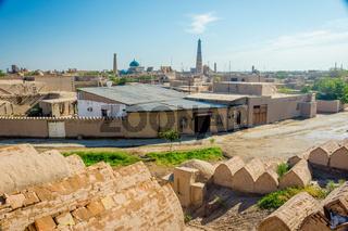 Skyline of Khiva with cemetery