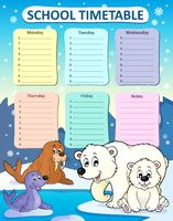 Weekly school timetable composition 1 - picture illustration.