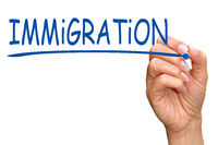 Immigration - female hand writing text