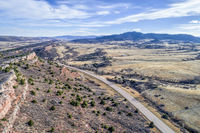 Colorado foothills aerial view