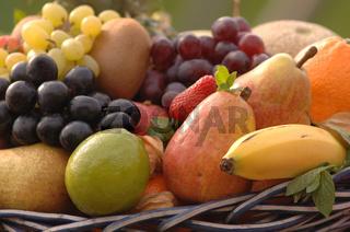 Obst, Fruechte, ananas, blaue trauben, apfelsine, erbeeren, melone, banane, birne, kiwi, fruits, orange, strawberry, melone, bananas, grapes, vitamine, vitamins, weidenkorb, wicker basket