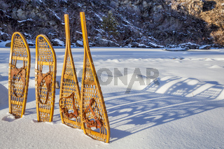 vintage snowshoes and shadows  abstract