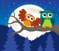 Stylized owls on branch theme image 5
