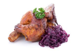 Hähnchen und Rotkohl