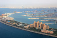 Dubai The Palm Palme Insel Atlantis Hotel Burj Al Arab Luftaufnahme Luftbild