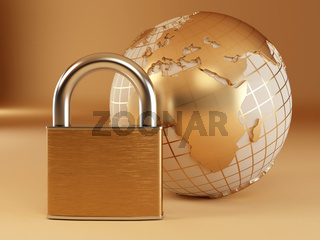 Earth with padlock. 3d