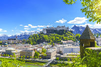 Picturesque view of historic old town of Salzburg in spring season, Salzburger Land, Austria