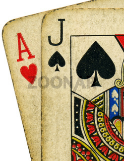 Close up of vintage dirty blackjack cards.