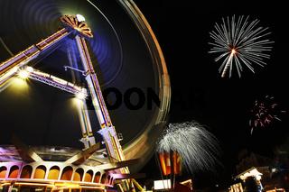 Big Wheel and fireworks at Annual Fair Hamburg, Germany, Riesenrad mit Feuerwerk auf dem Hamburger Dom, Deutschland