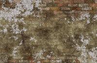 Old vintage dirty brick wall with peeling plaster