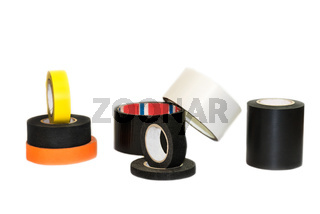 Black, orange and yellow insulation tape hank, isolated on a white background