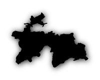 Karte von Tadschikistan mit Schatten - Map of Tajikistan with shadow