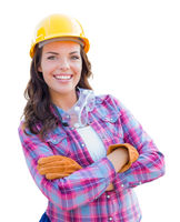 Female Construction Worker Wearing Gloves, Hard Hat and Protective Goggles Isolated on White