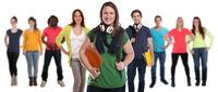 Studenten Gruppe lachen glücklich Leute Menschen People Jugendliche Freisteller