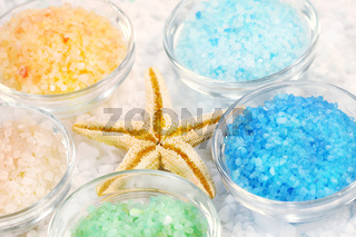 Five colors of bath salt