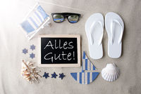 Sunny Blackboard On Sand, Alles Gute Means Best Wishes