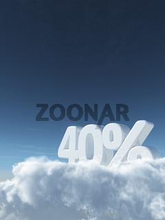 die zahl vierzig und prozentzeichen auf wolken - 3d rendering