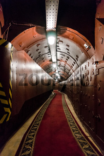 Tunnel at Bunker-42, anti-nuclear underground facility built in 1956 as command post of strategic nuclear forces of Soviet Union at a depth of 65 meter under Taganka Square