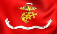 Republic of Korea Marine Corps Flag. Close Up.