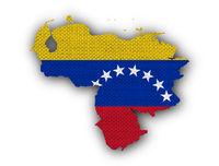 Karte und Fahne von Venezuela auf altem Leinen - Map and flag of Venezuela on old linen