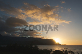 Sunset Over Hanalei Bay, Kauai, Hawaii