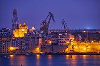 The night view of Senglea, Valletta, Malta