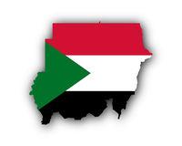 Karte und Fahne des Sudan - Map and flag of Sudan