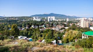 panorama of Alushta city in sunny morning